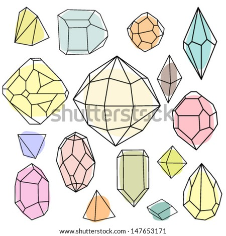Colored diamonds. Geometric background with linear diamonds. - stock vector