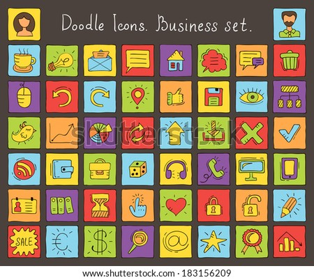 Colored doodle icons. Business set. Vector illustrations - stock vector