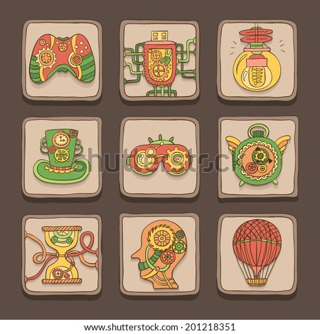Colored doodle icons. Steampunk theme. Vector set - stock vector
