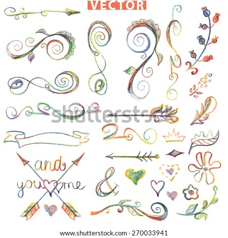 Colored Doodles floral decor element set .Watercolor,pencil,crayon hand drawing sketched.Design template,invitation,card.Swirling border,dividers,arrows.Love Vector for wedding,holiday,birthday. - stock vector