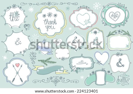 Colored Doodles labels,badges,frame,arrow,heart,snowflake,love decor elements set.For design template,invitation.Children hand drawing style. For weddings,Valentine day,holidays,birthday.Winter Vector - stock vector