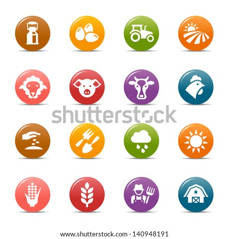Colored Dots - Agriculture and Farming icons - stock vector