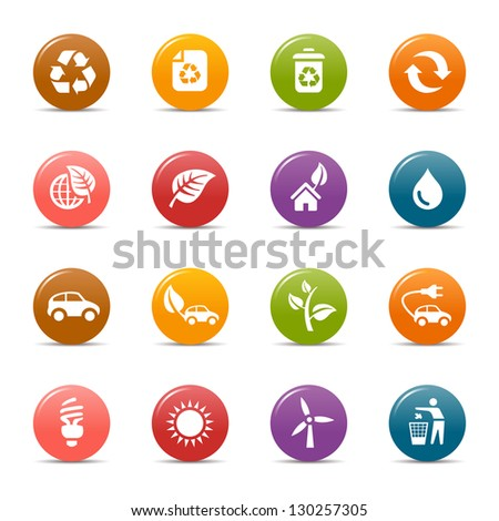 Colored Dots - Ecological and Recycling icons - stock vector