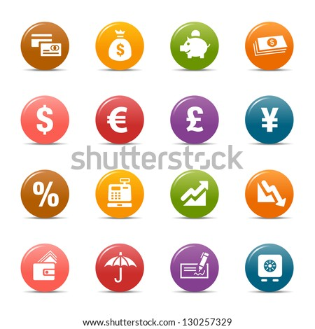 Colored Dots - Finance and Banking icons - stock vector