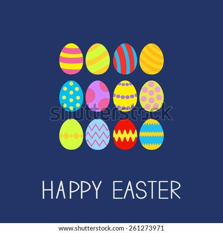 Colored Easter egg set composition Flat design Vector Illustration - stock vector