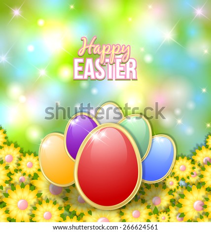 Colored Easter eggs on the bed of flowers - stock vector