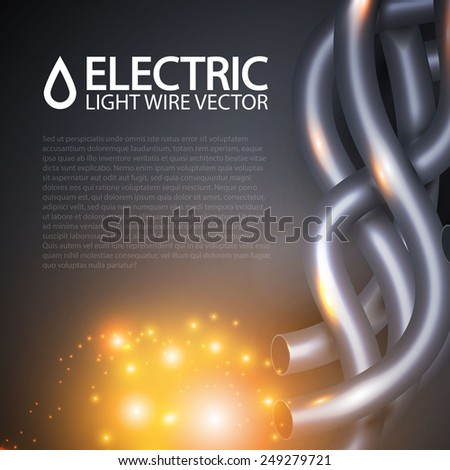 Colored electrical cables and wires. Vector illustration - stock vector