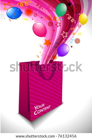 Colored elements coming from shopping bags on a white background,editable design