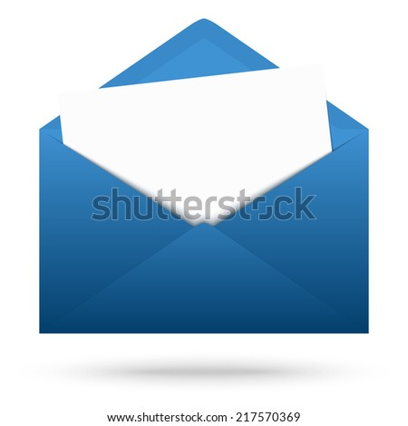 Colored envelope with white note - stock vector