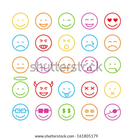 Colored face icon set