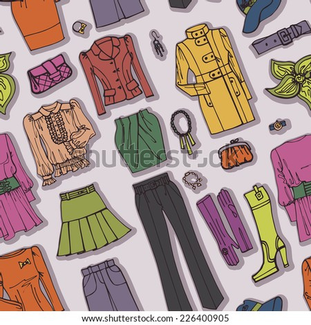 Colored Fashionable female clothing and accessories  seamless pattern on Sketchy style.For background,fabric,Wallpaper,background,wrapping paper.Autumn ,winter,spring woman fashion Vector.