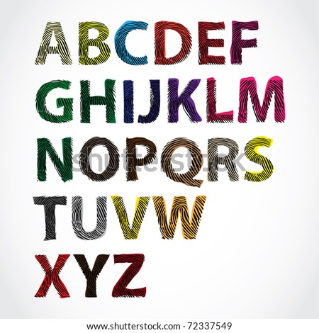 colored fingerprint alphabet letters - illustration - stock vector