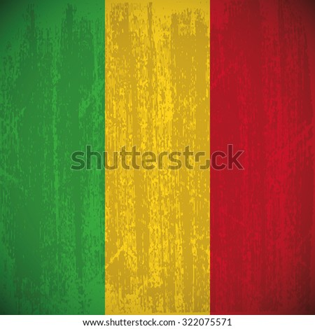 Colored flag with details and grunge texture - stock vector