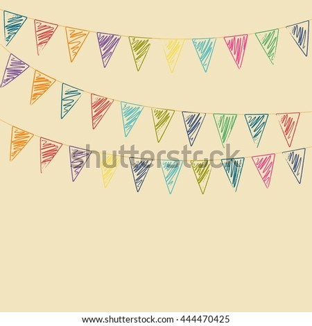 Colored flags. Stylized as a pencil drawing. Beige background. - stock vector