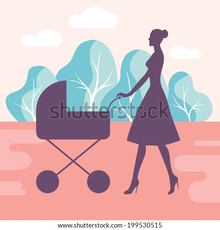 Colored flat design style vector illustration of a slim elegant woman walking in a park with carriage - stock vector