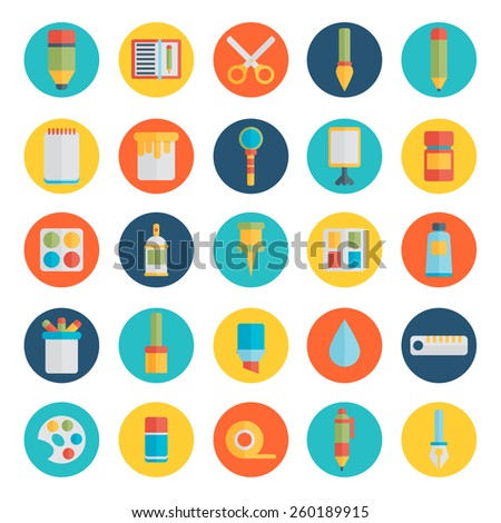Colored flat design vector illustration icons set of art supplies, art instruments for painting, drawing, sketching