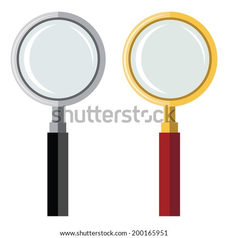 Colored flat design vector illustration of grey loupe and golden loupe isolated on white background - stock vector