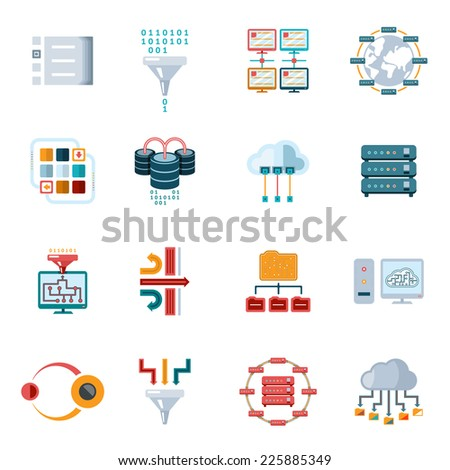 Colored Flat Filtering Data Icons Set Isolated on White Background. - stock vector