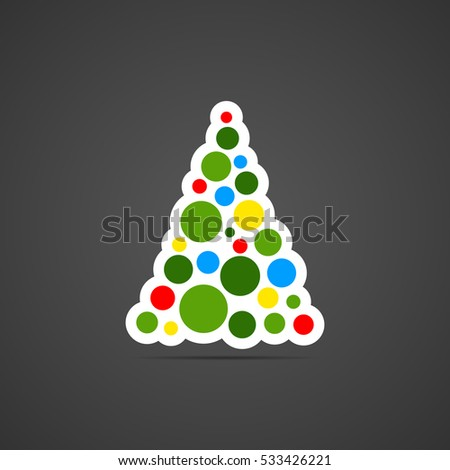 colored flat icon vector round design fir tree with balls for illustration christmas - Year Round Christmas Tree