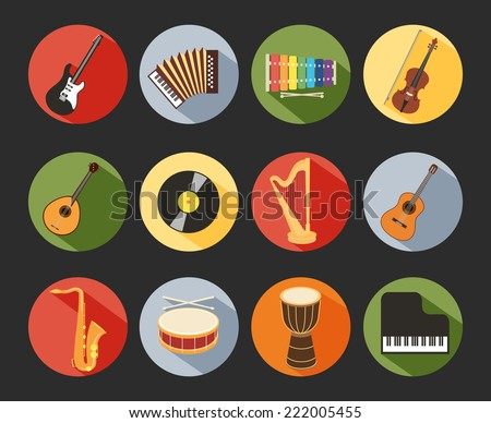 Colored Flat Musical Icons Isolated on Black Background - stock vector