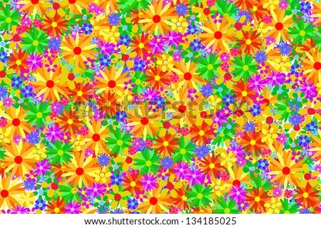 Colored Flowers Background Texture - stock vector