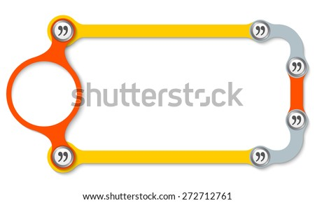 Colored frame with screws and quotation marks - stock vector