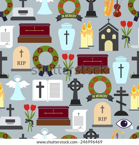 Colored Funerals and Mournful Ceremony Patterns Graphic Design on Gray Background. - stock vector