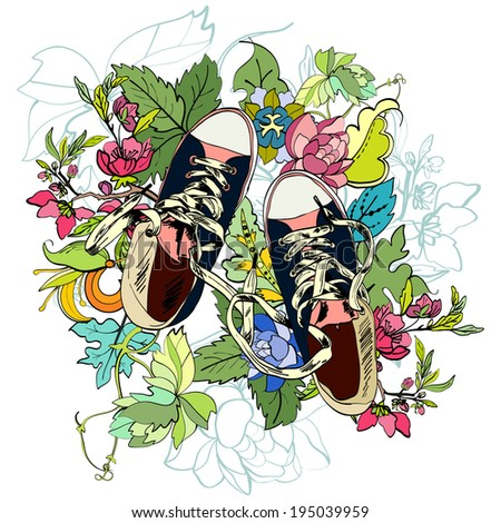 Colored funky teenagers gumshoes with flower background vector illustration - stock vector