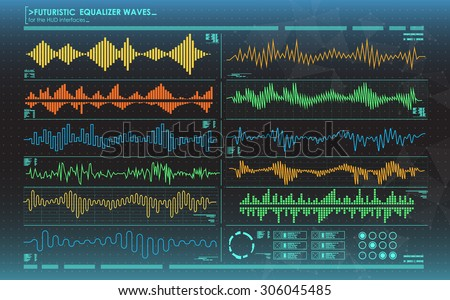 colored futuristic equalizer waves for the HUD interfaces - stock vector