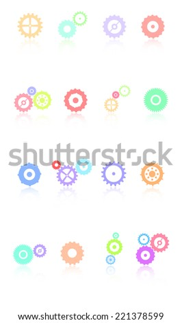 Colored Gears Icons Set Vector - stock vector