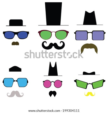 Colored glasses and a mustache and hat. vector - stock vector