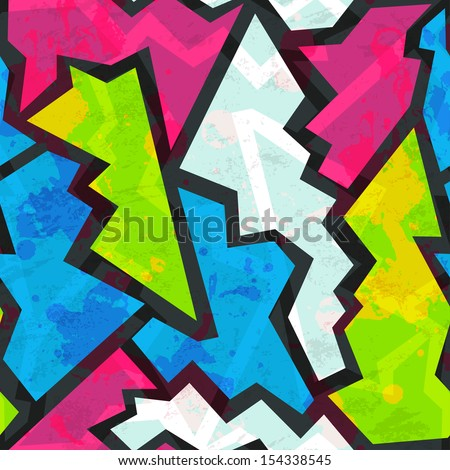 colored graffiti seamless pattern with grunge effect - stock vector