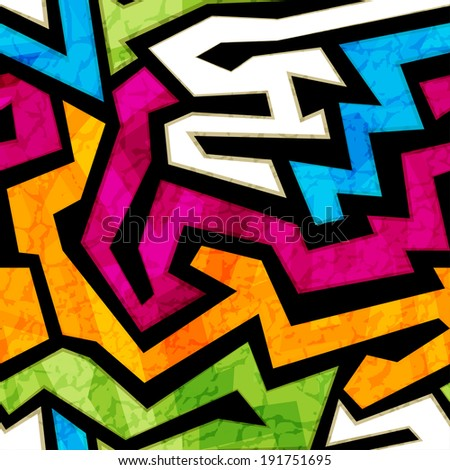 colored graffiti seamless texture with grunge effect - stock vector