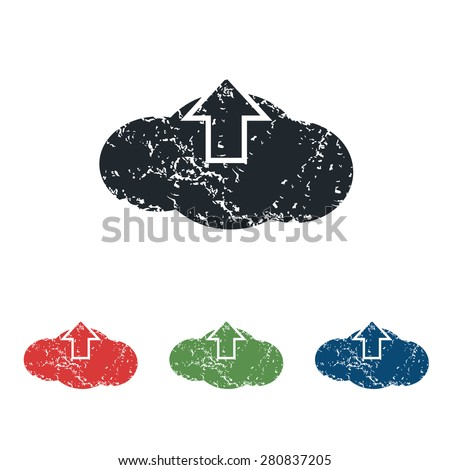 Colored grunge icon set with image of cloud and down arrow, isolated on white