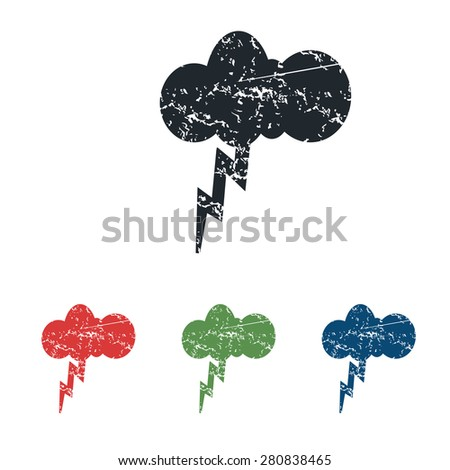 Colored grunge icon set with image of cloud and lightning, isolated on white - stock vector