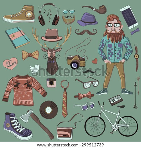Colored hand-drawn Hipster style, excellent vector illustration, EPS 10