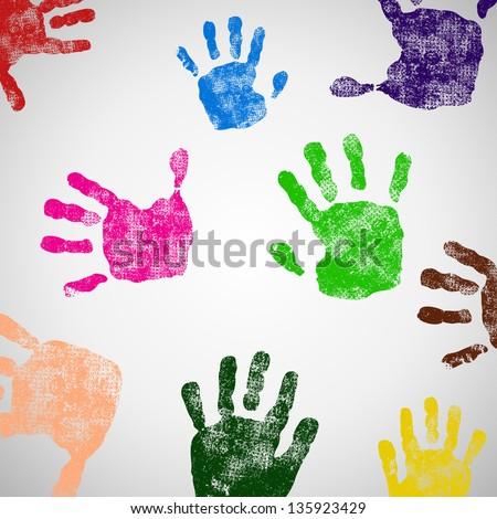 Colored Hand Print icon, vector illustration - stock vector