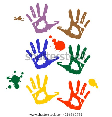 Colored Hand Print icon, vector illustration