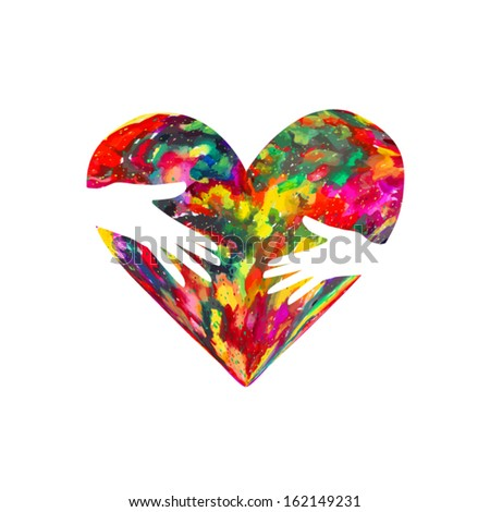 colored heart of the ink stains in the hands of - stock vector