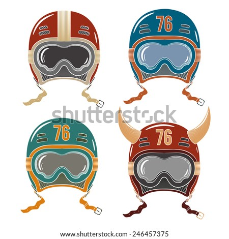 Colored helmets racer, snowboarder or skier. Helmets in old-school style with safety goggles. Red helmet, blue helmet, green helmet. Racing helmet with horns. - stock vector