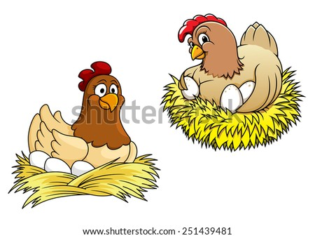 Colored  hens incubating their eggs on nest of straw, for farming or easter concept - stock vector