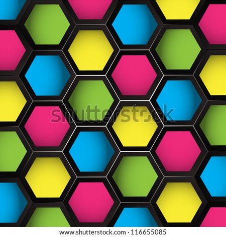 Colored Hexagons Seamless Background - stock vector