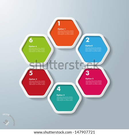 Colored hexagons with shadows on the grey background. Eps 10 vector file. - stock vector