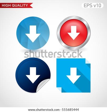 Colored Icon Button Down Arrow Symbol Stock Vector 555685444