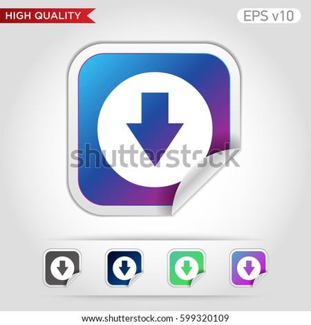 Colored Icon Button Down Arrow Symbol Stock Vector 599297624