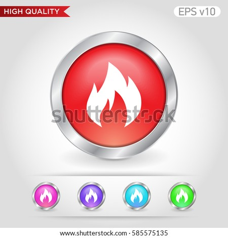 Colored Icon Button Fireplace Symbol Background Stock Vector ...