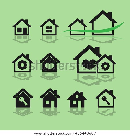colored icon set with houses