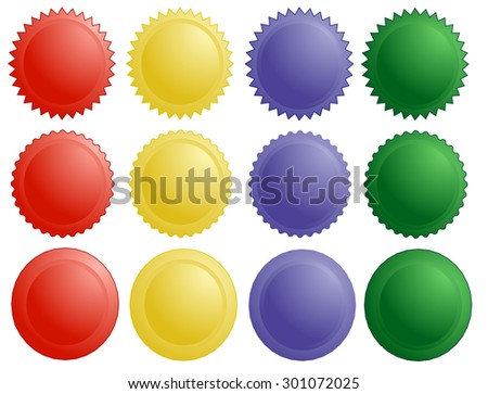 colored icons, badges, labels