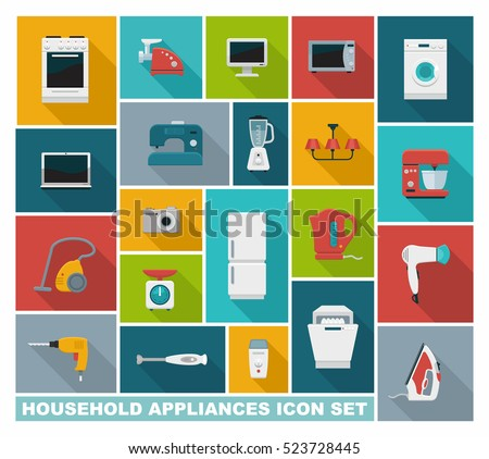 Colored icons of home appliances and utensils. lat vector illustration.