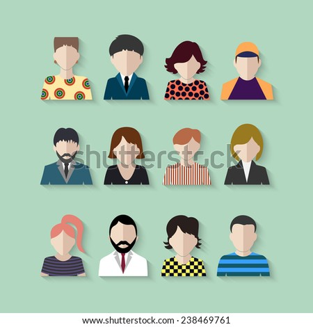 colored icons people - stock vector